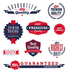 Premium and quality labels vector
