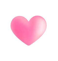 Realistic pink valentine heart in 3d style vector