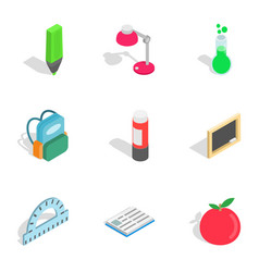 School tools icons isometric 3d style vector