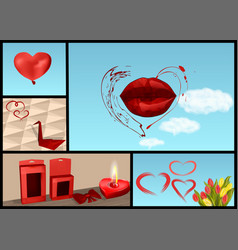 Set for valentines day vector