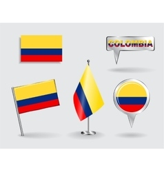 Set of Colombian pin icon and map pointer flags vector image vector image