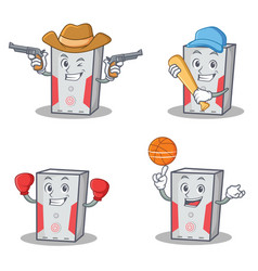 Set of computer character with cowboy baseball vector