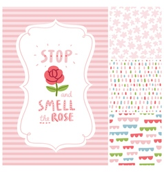 Stop and smell the rose decorations set vector image
