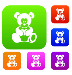 teddy bear holding a heart set color collection vector image
