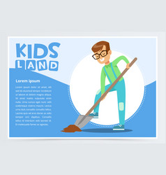 Teen boy with a shovel digging ground eco concept vector