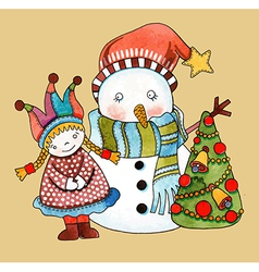 Watercolor snowman with girl and christmas tree vector image
