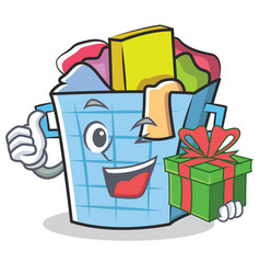 With gift laundry basket character cartoon vector