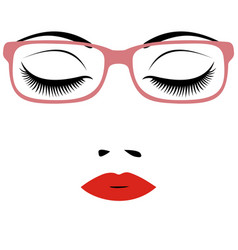 Woman beautiful closed eyes with glasses vector