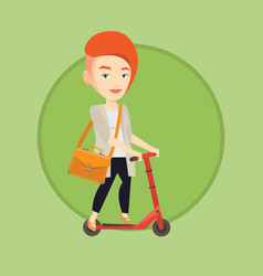 woman riding kick scooter vector image