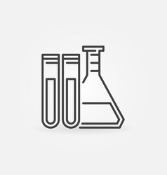 Test tubes with flask icon vector