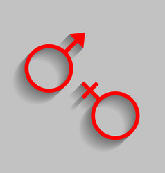 Sex symbol sign  red icon with soft shadow vector
