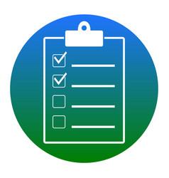 Checklist sign   white icon in vector