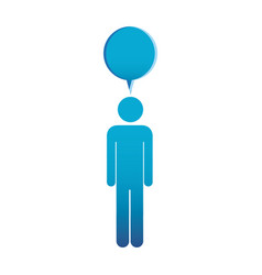 Pictogram blue male with bubble dialog box vector