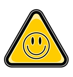 Smiley face sign triangular sticker vector