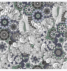 flowers and swirls decorative pattern vector image