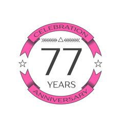 Seventy seven years anniversary celebration logo vector