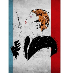 The woman in a fur coat vector