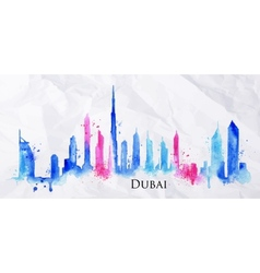 Silhouette watercolor dubai vector