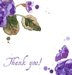 Watercolor of violet flowers vector
