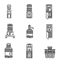 Water cooler black line icons set vector