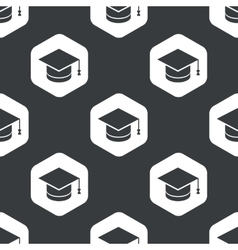 Black hexagon academic hat pattern vector
