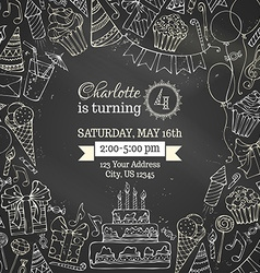 Chalk Birthday invitation blackboard template vector image