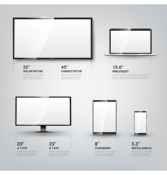 Tv screen lcd monitor notebook tablet computer vector