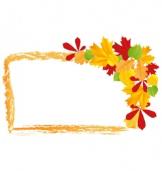 grunge frame with autumn leaves vector image