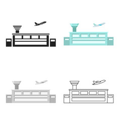 Airport icon cartoon single building icon from vector