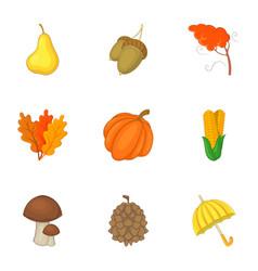 Autumn harvest icons set cartoon style vector