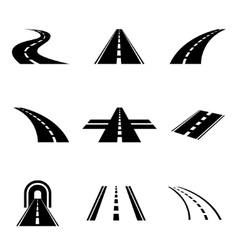 black car road icons set vector image