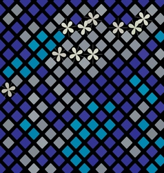 blue mosaic with flowers vector image vector image