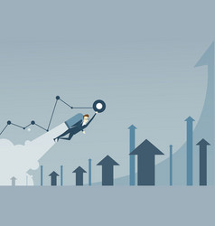 business man with jet pack over finance graph vector image vector image
