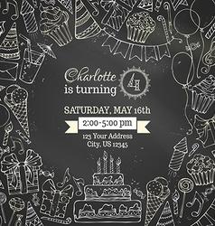 Chalk birthday invitation blackboard template vector