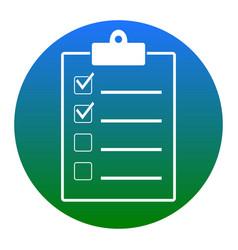 Checklist sign white icon in vector