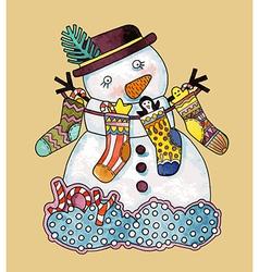 Christmas design Watercolor snowman vector image