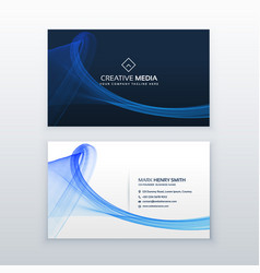 Clean blue business card with wave shape vector