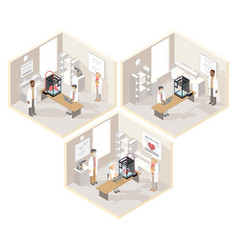 clinical laboratories set of isometric vector image
