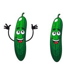 Comic happy green cucumbers and gherkins vector