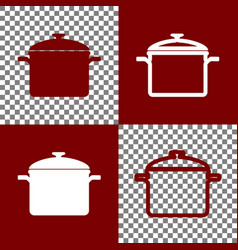 Cooking pan sign bordo and white icons vector