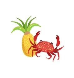 Crab and pineapple hawaiian vacation classic vector