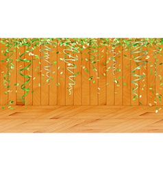 falling green confetti in wooden room vector image vector image