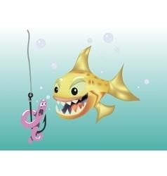 Fish hunts worm vector image vector image