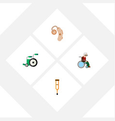 Flat icon handicapped set of stand wheelchair vector