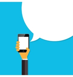 Flat smartphone in hand with speech bubble Global vector image
