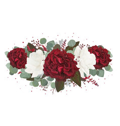 Floral bouquet with garden red white burgundy rose vector
