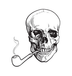 Hand drawn human skull smoking lacquered wooden vector