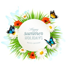 Happy summer holidays background with poppies vector