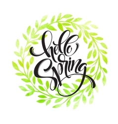Hello Spring lettering on the watercolor vector image vector image
