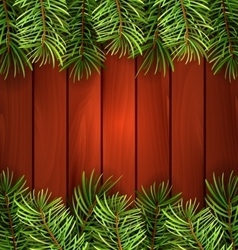 Holiday Wooden Background with Fir Branches vector image vector image